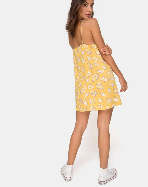 Sanna Slip Dress in Rose Bunch Yellow by Motel