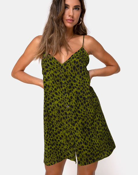 Sanna Slip Dress in Cheetah Khaki by Motel
