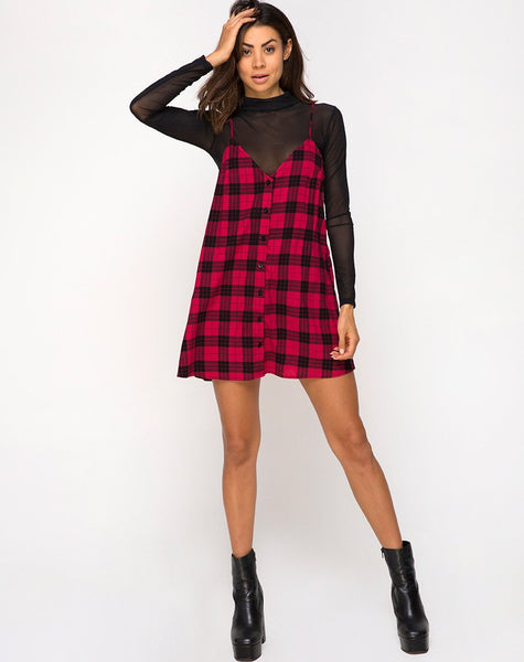 Sanna Slip Dress in Winter Plaid Red / Black By Motel