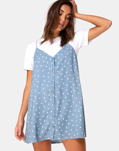 Sanna Slip Dress in Skater Polka Blue by Motel