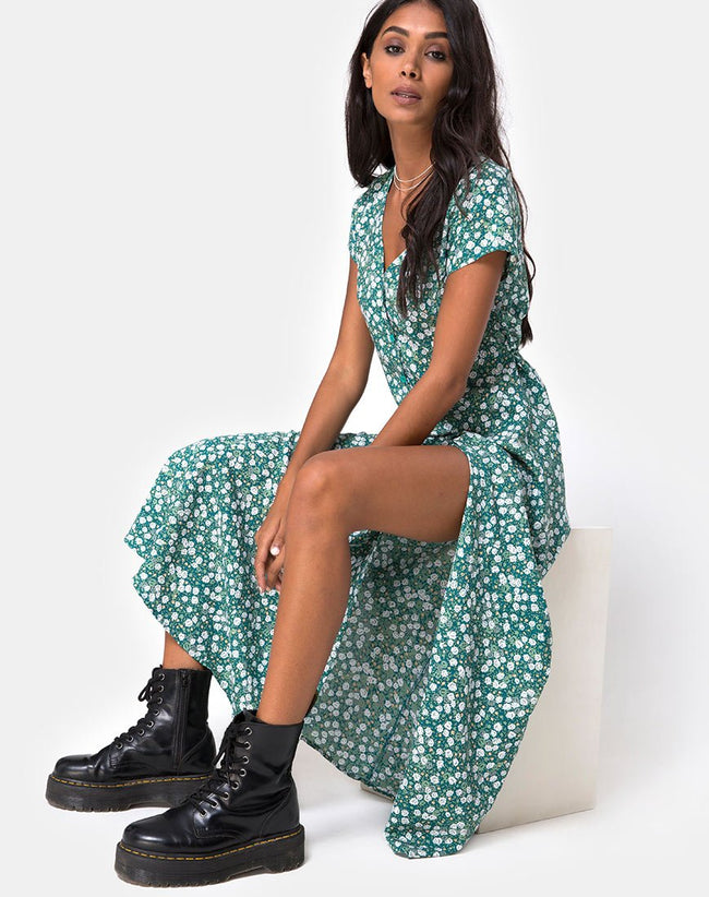 Sanrin Midi Dress in Floral Field Green by Motel