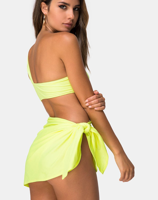 Sarong Swim Skirt in Neon Lime by Motel