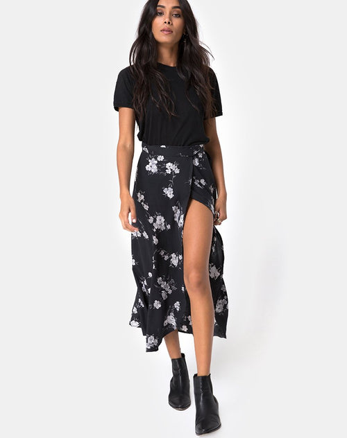 Satha Midi Skirt in Mono Flower Black by Motel