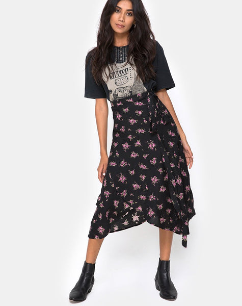 Satha Midi Skirt in Sohey Rose Black By Motel