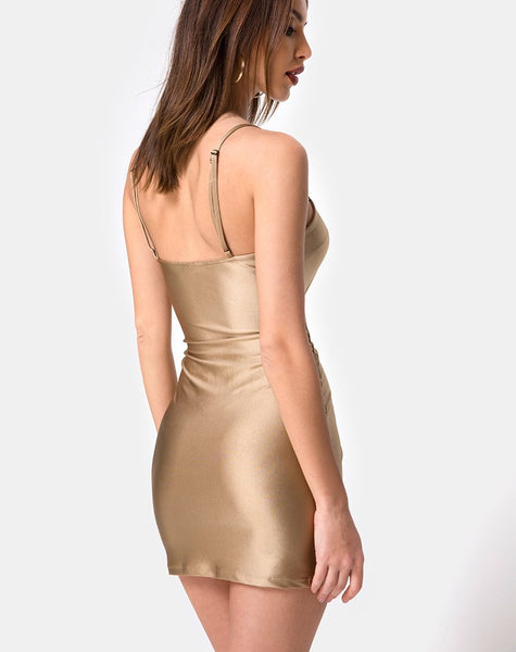 Selah Bodycon Dress in Nylon Gold by Motel