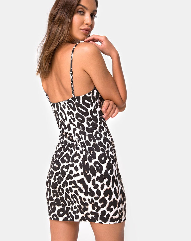Selah Bodycon Dress in Oversize Jaguar by Motel