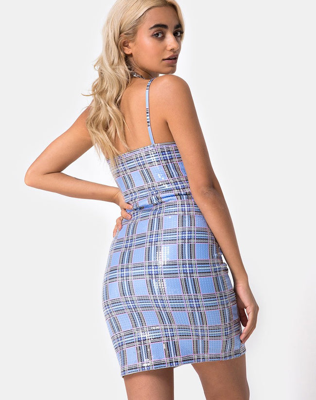 Seleh Bodycon Dress in 90's Check with Clear Sequin by Motel