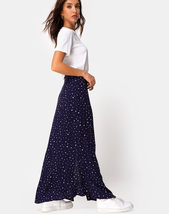 Shayk Maxi Skirt in Starstruck Navy by Motel