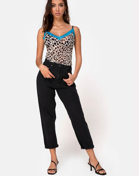 Sheyla Top in Mesh Cheetah with Blue Lace by Motel