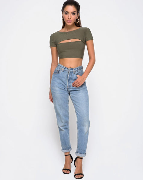 Shim Cutout Crop Top in Khaki by Motel