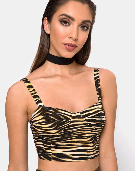 Dyrilla Cropped Bralet in Velvet Golden Tiger by Motel