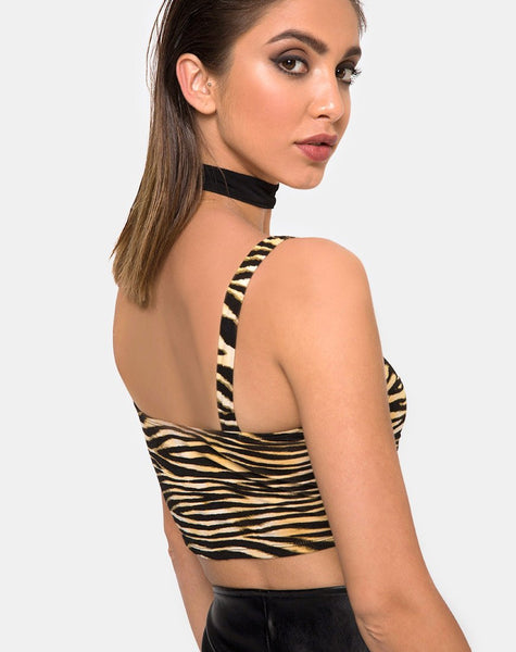 Shistra Cropped Top in Zip's Zebra Brown By Motel