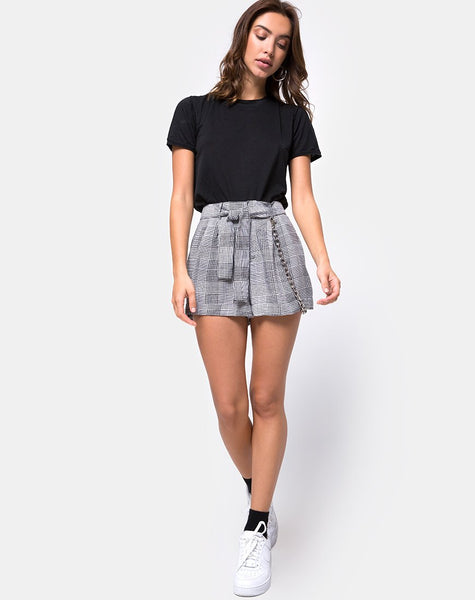 Melange High Waist Short in Grey Charles Check by Motel