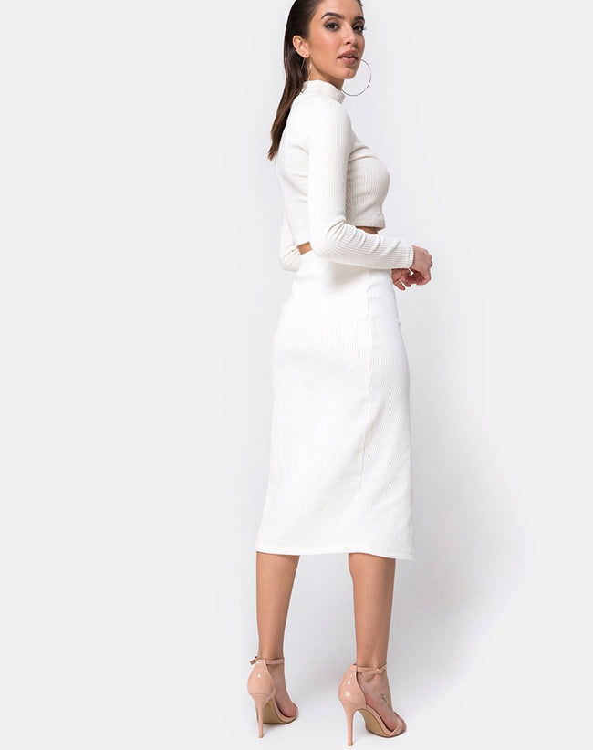 Midi Cheri Split Skirt in Velvet Rib White by Motel