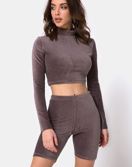 Evie Cropped Sweatshirt in Chenille Plum by Motel
