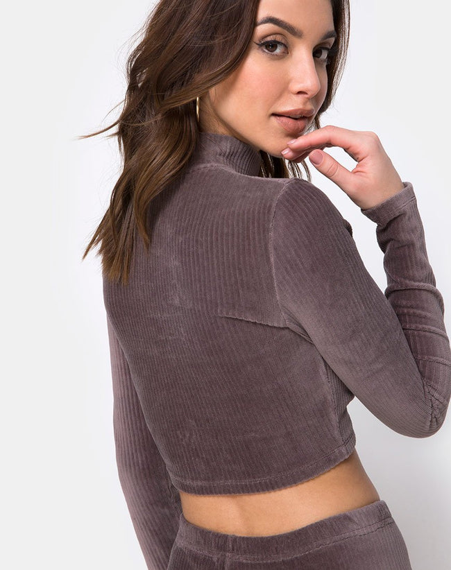 Shureen Crop Top in Mocha Rib Velvet by Motel