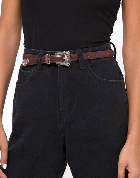 Black Pu Belt with Golden O Ring Buckle by Motel