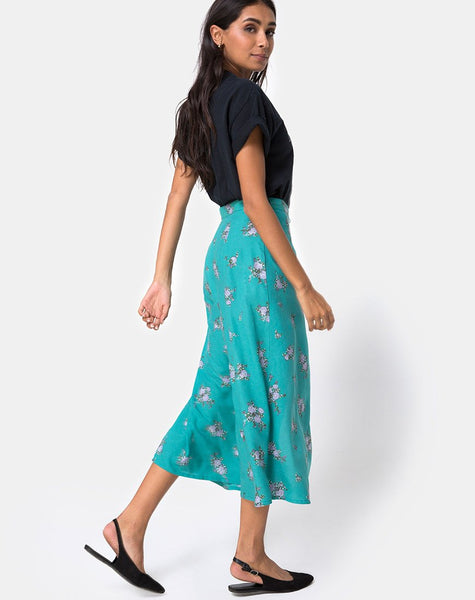 Prema Midi Skirt in Soi Rose Green by Motel