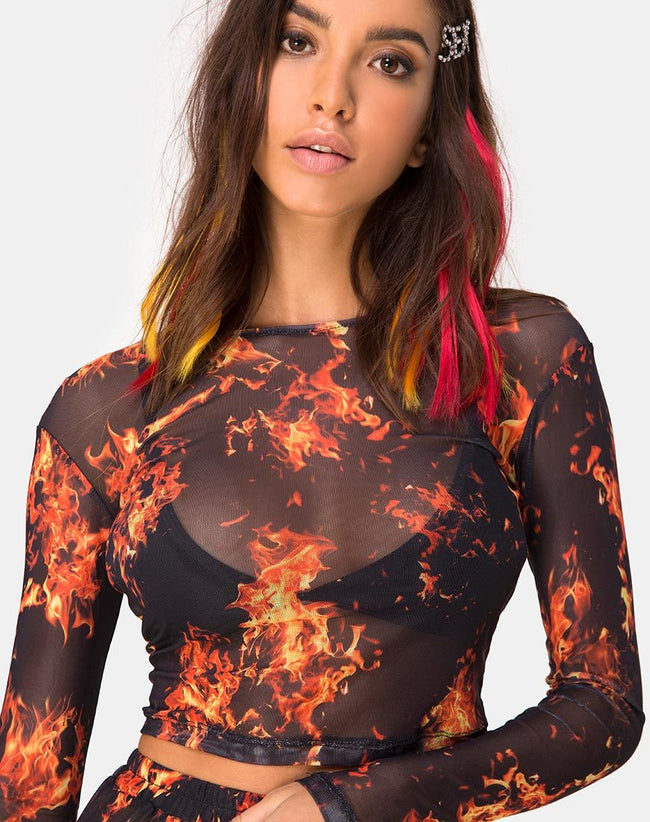 Bonnie Crop Top in Fire Mesh by Motel