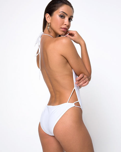 Split Swimsuit in White by Motel