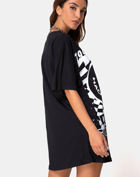 Sunny Kiss Tee in Black with White Dream Scape by Motel