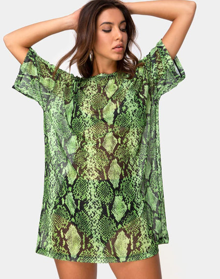 Harlow Dress in Lime Animal Flock by Motel