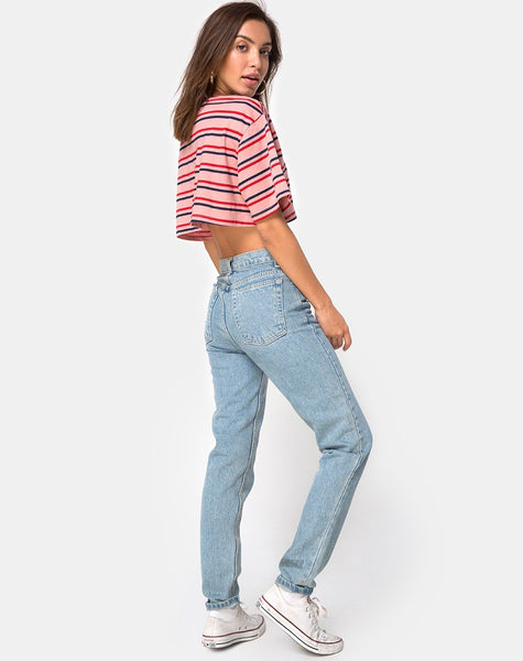 Super Cropped Tee in 70's Stripe Pink Horizontal by Motel