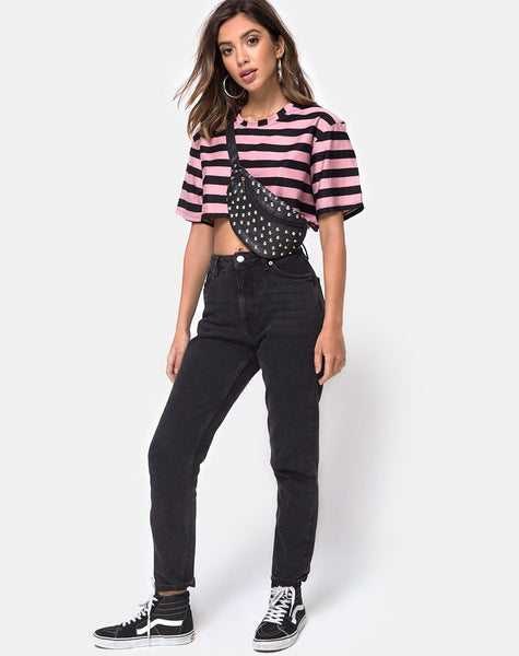 Super Cropped Tee in Campbell Stripe by Motel