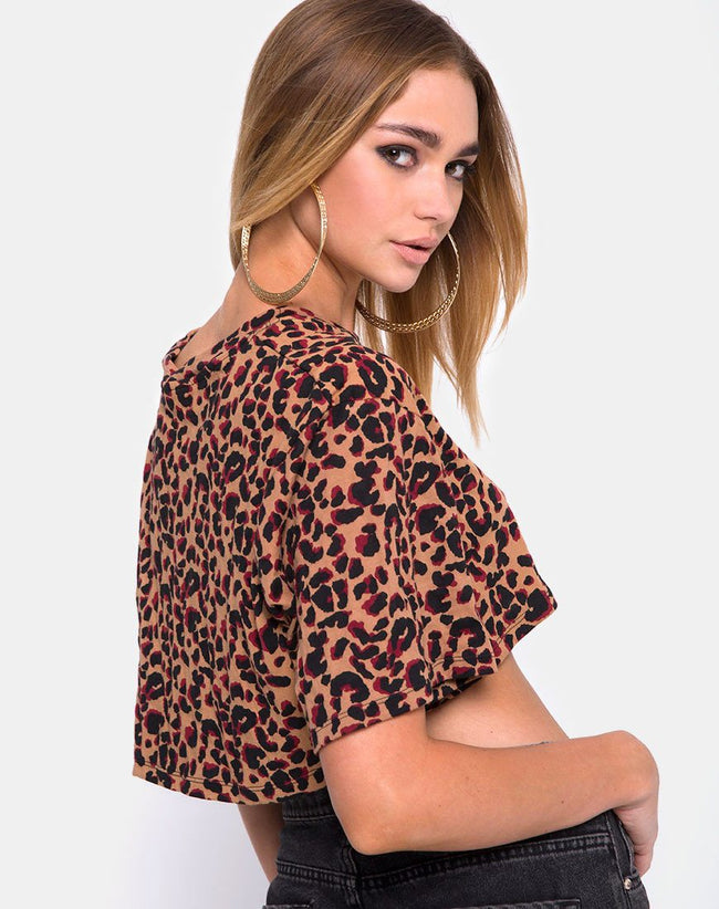 Super Cropped Tee in Jungle Leopard by Motel