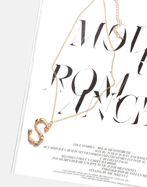 Necklace in Gold Letter S by Motel