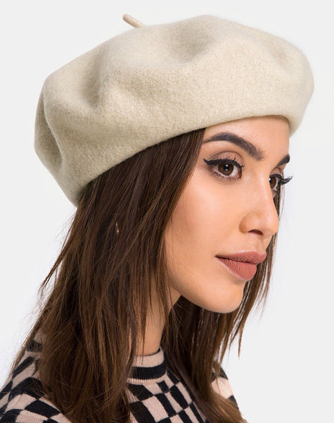 Wool Beret Hat in Taupe By Motel