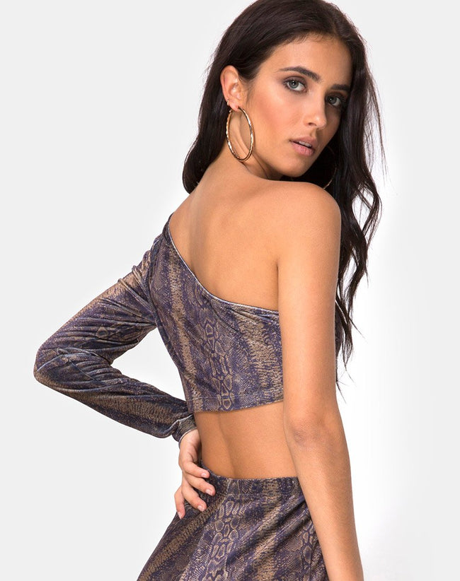 Tatiana Top in Velvet Brown Snake by Motel