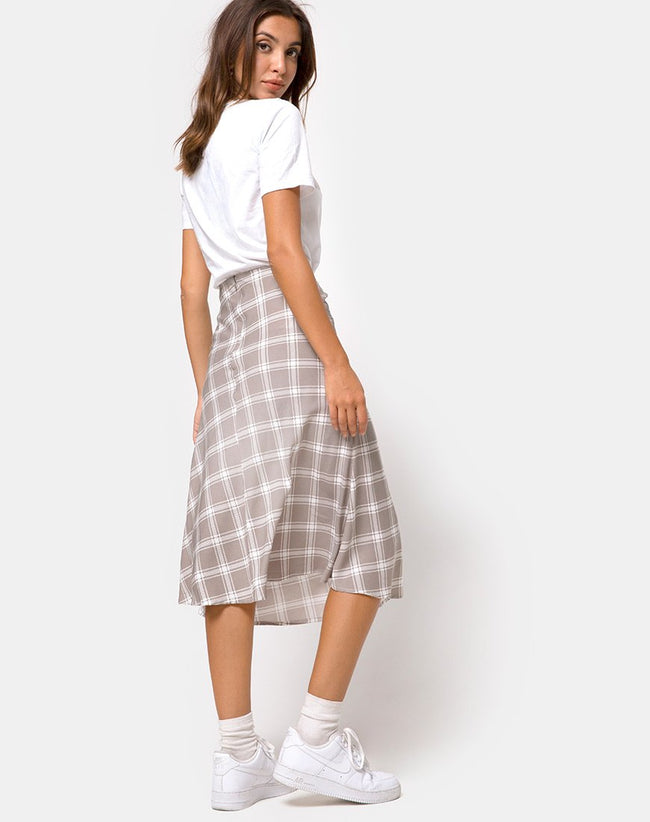 Tauri Midi Skirt in Grunge Check Taupe by Motel