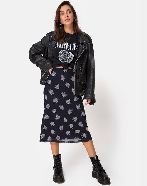 Tauri Midi Skirt in Black Flock Rose by Motel