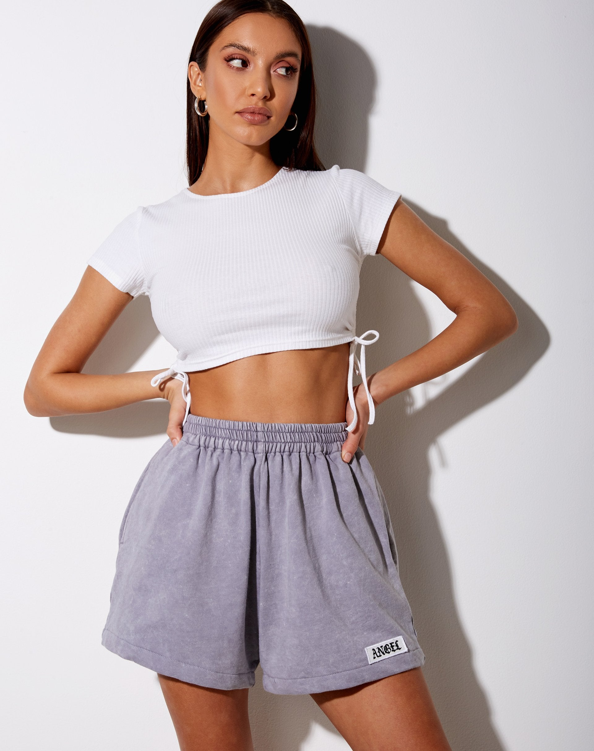 """Terry Short in Grey Wash """"Angel"""" Embro Label"""