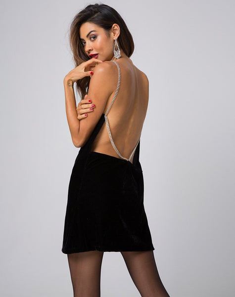 Tacita Slip Dress in Velvet Diamond Black by Motel