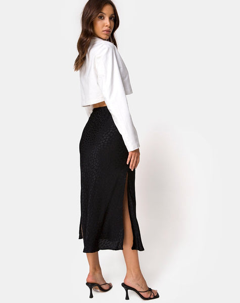 Tindra Midi Skirt in Satin Ditsy Rose Black by Motel