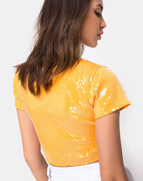 Tindy Crop Top in Tangerine with Clear Sequin by Motel