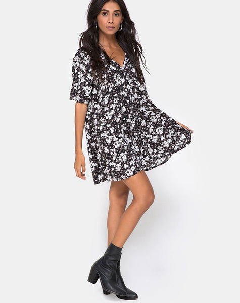 Crosena Swing Dress in Dark Wild Flower by Motel