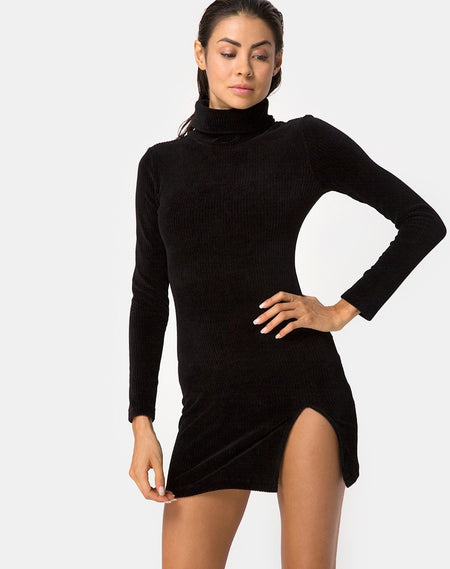Jasby Bodycon Dress in Black with Silver Hook by Motel