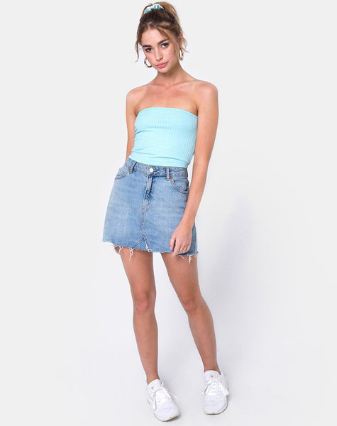 Tube Top in Ribbed Powder Blue by Motel