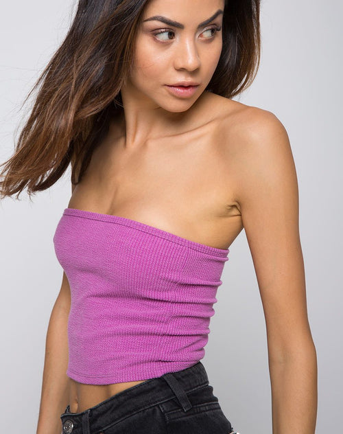 Tube Top in Baby Rib Violet by Motel