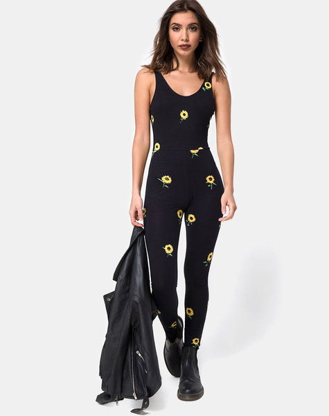 Unitard in Ditsy Sunflower by Motel