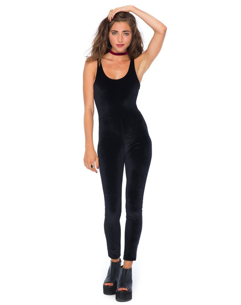 Motel Unitard in Black Velvet