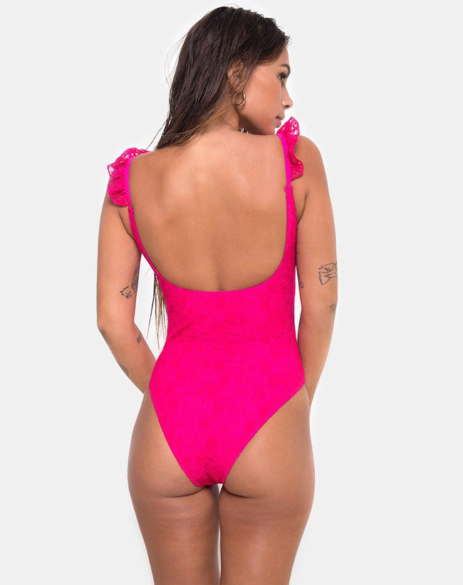 Valentina Swimsuit in Lace fuschia Pink by Motel