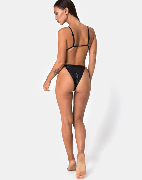 Valter Bikini Bottom in Black Oil Snake by Motel