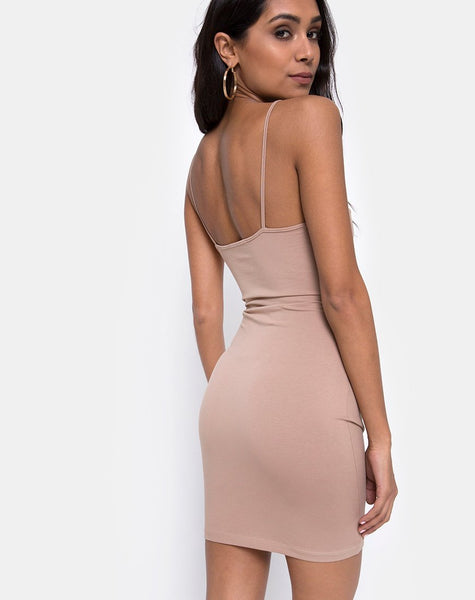 Vecha Bodycon Dress in Jersey Tan by Motel