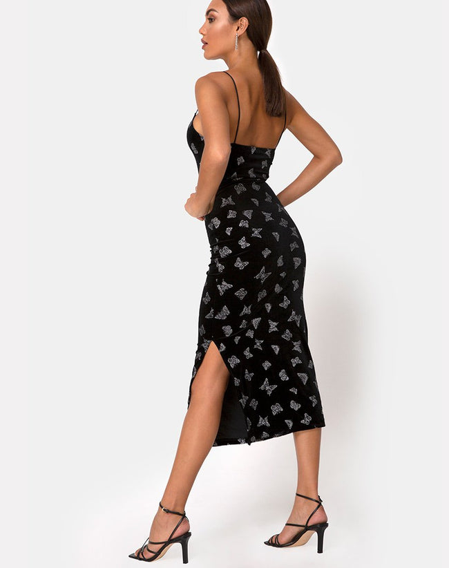 Verdina Dress Black with Glitter Butterfly by Motel