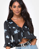 Vinequa Top in Satin Mono Flower Black by Motel