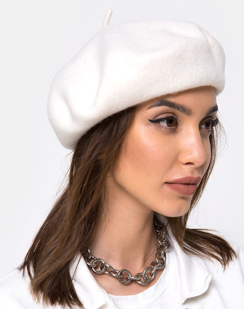 Wool Beret in Cream By Motel